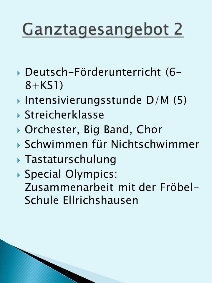 Deutsch-Förderunterricht (6- 8+KS1) Intensivierungsstunde D/M (5) Streicherklasse Orchester, Big Band, Chor Schwimmen für Nichtschwimmer Tastaturschulung Special Olympics: Zusammenarbeit mit der Fröbel- Schule Ellrichshausen
