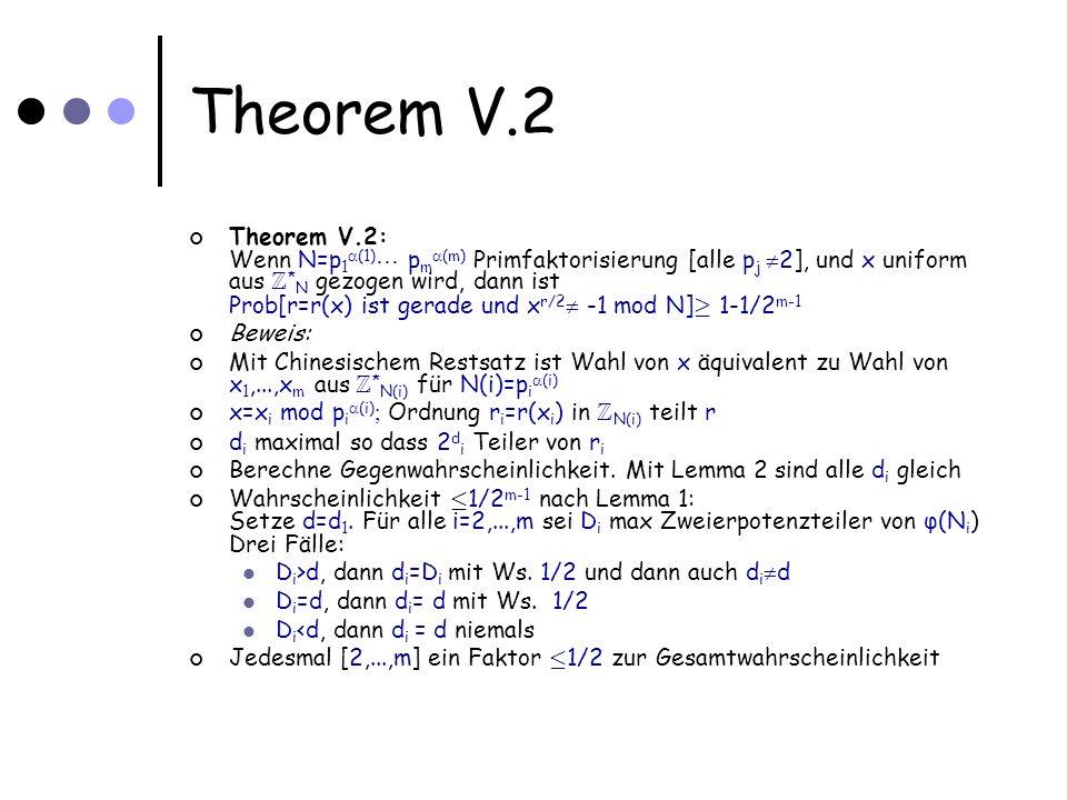 Theorem V.2 Theorem V.2: Wenn N=p 1 (1) p m (m) Primfaktorisierung [alle p j 2], und x uniform aus Z * N gezogen wird, dann ist Prob[r=r(x) ist gerade und x r/2 -1 mod N] ¸ 1-1/2 m-1 Beweis: Mit Chinesischem Restsatz ist Wahl von x äquivalent zu Wahl von x 1,...,x m aus Z * N(i) für N(i)=p i (i) x=x i mod p i (i) Ordnung r i =r(x i ) in Z N(i) teilt r d i maximal so dass 2 d i Teiler von r i Berechne Gegenwahrscheinlichkeit.
