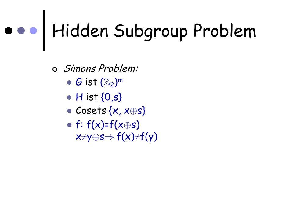 Hidden Subgroup Problem Simons Problem: G ist ( Z 2 ) m H ist {0,s} Cosets {x, x © s} f: f(x)=f(x © s) x y © s ) f(x) f(y)