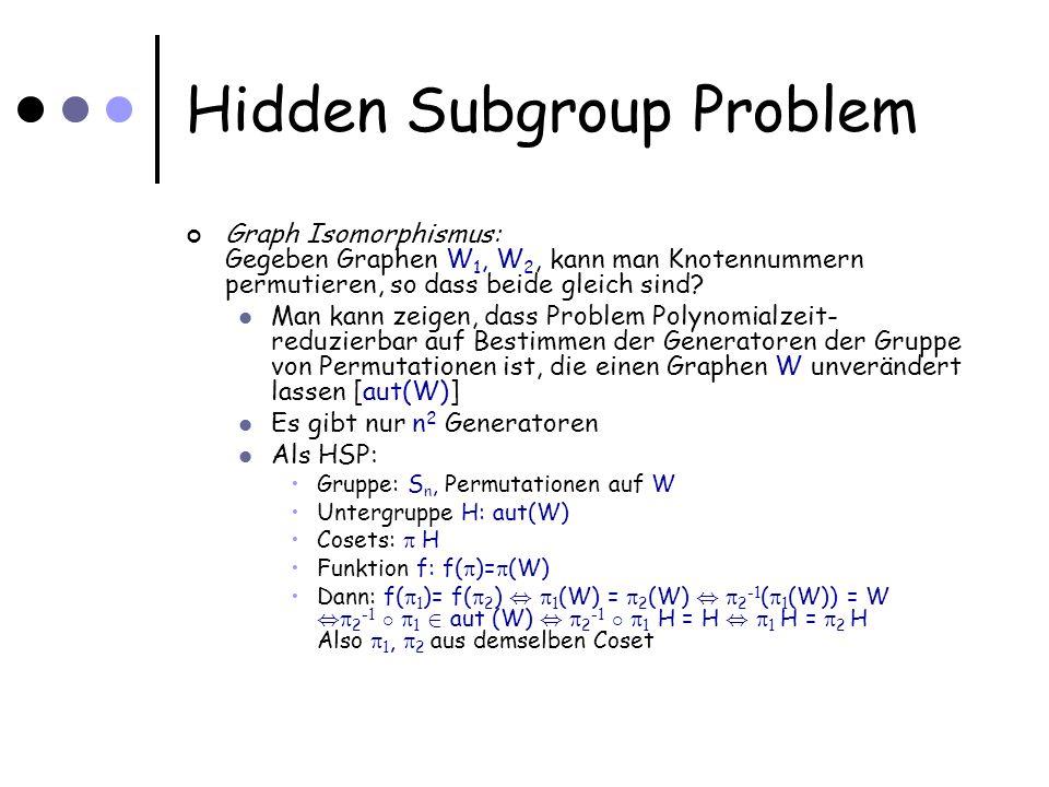 Hidden Subgroup Problem Graph Isomorphismus: Gegeben Graphen W 1, W 2, kann man Knotennummern permutieren, so dass beide gleich sind.