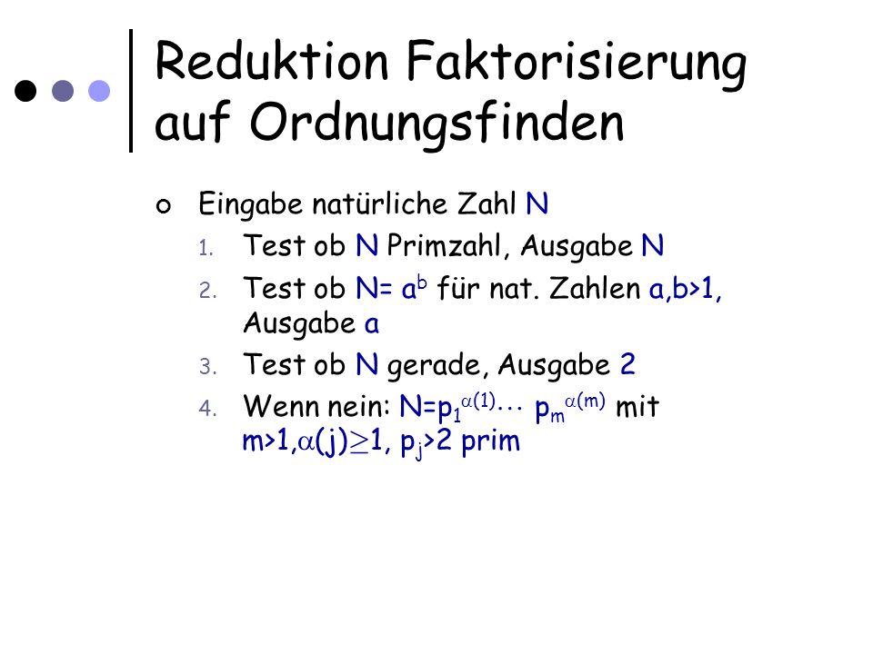 Reduktion Faktorisierung auf Ordnungsfinden N=p 1 (1) p m (m) mit m>1, (j) ¸ 1, p j >2 prim Ansatz: Wenn man eine nichttriviale Lösung zu x 2 =1 mod N finden kann, dann kann ein Faktor von N berechnet werden Wenn y aus [1,...,N-1] gezogen wird und teilerfremd zu N ist, dann ist die Ordnung r von y mit hoher Ws.