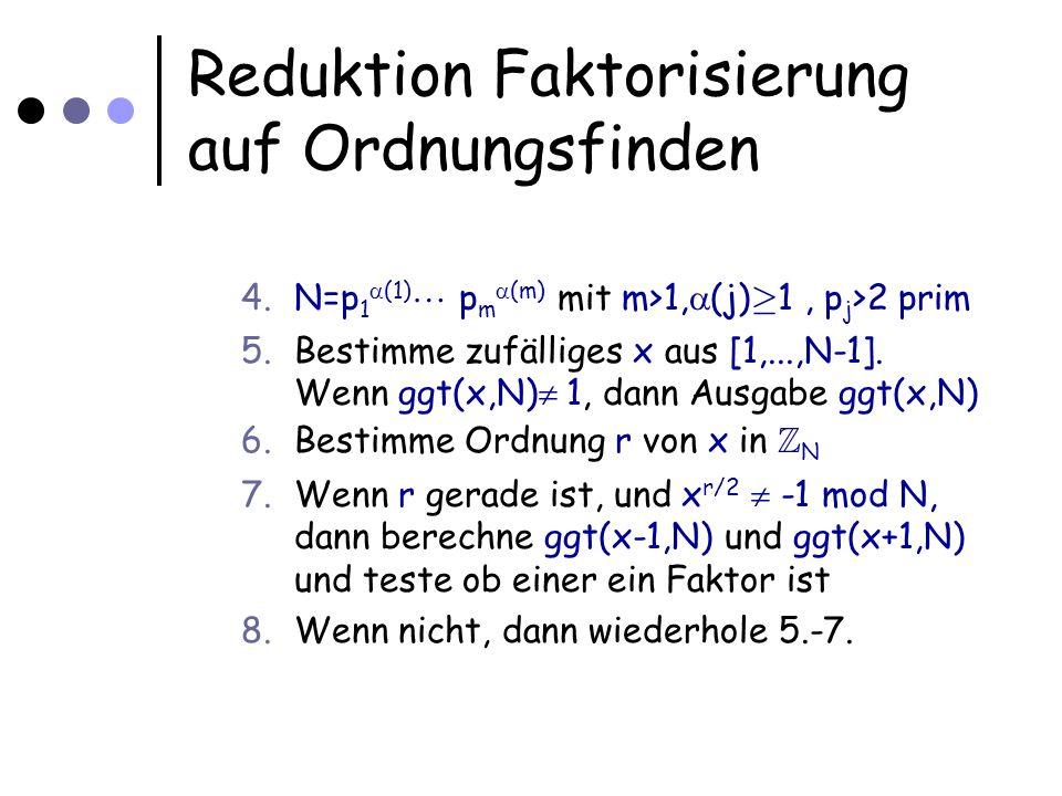 Reduktion Faktorisierung auf Ordnungsfinden 4.N=p 1 (1) p m (m) mit m>1, (j) ¸ 1, p j >2 prim 5.Bestimme zufälliges x aus [1,...,N-1].