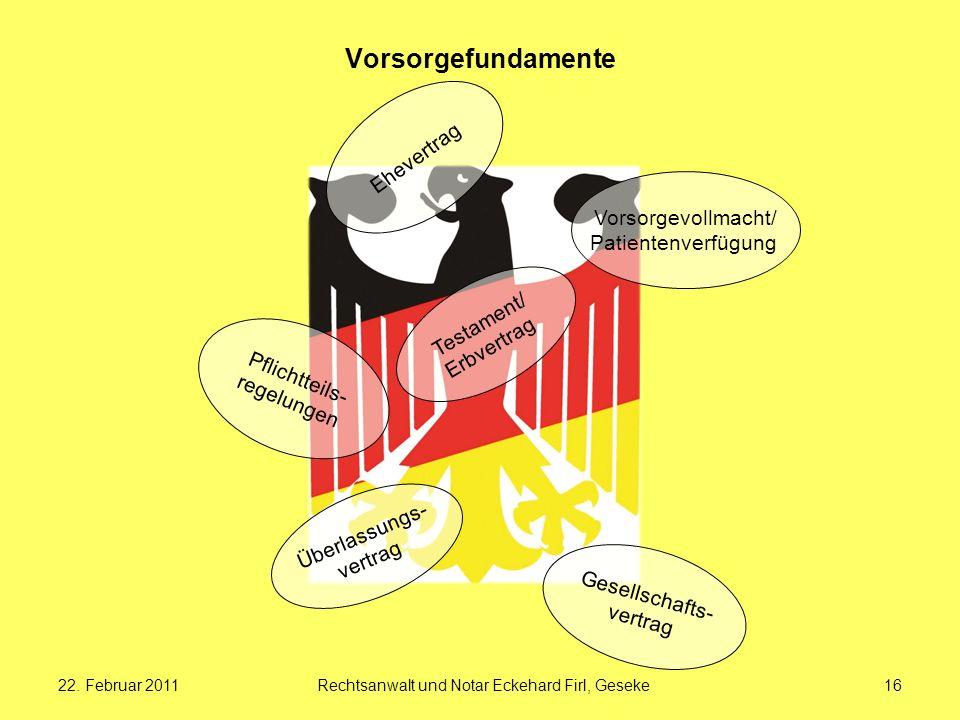 22. Februar 2011Rechtsanwalt und Notar Eckehard Firl, Geseke16 Vorsorgefundamente Pflichtteils- regelungen Überlassungs- vertrag Gesellschafts- vertra