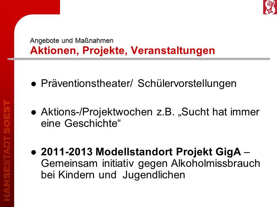 Angebote und Maßnahmen Angebote und Maßnahmen Aktionen, Projekte, Veranstaltungen Präventionstheater/ Schülervorstellungen Aktions-/Projektwochen z.B.