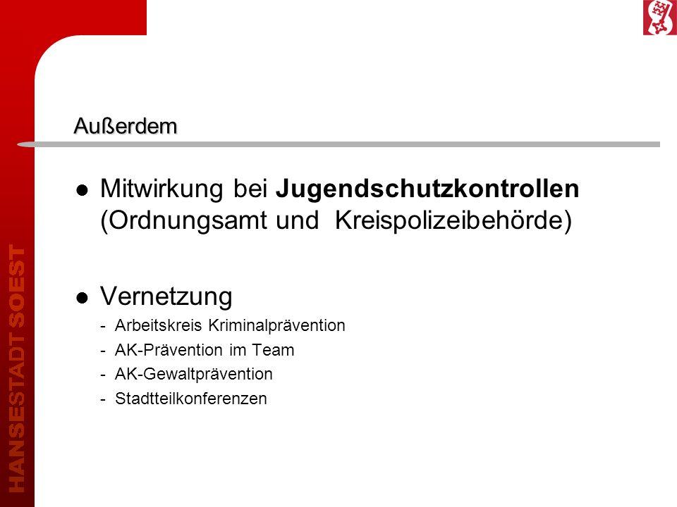 Außerdem In Soest leben insgesamt 4111 Jugendliche 2219 Jugendliche im Alter von 14 -17 Jahren 1892 Jugendliche im Alter von 18-21 Jahren 2010 sind bisher 165 Jugendliche und Heranwachsende strafrechtlich in Erscheinung getreten.