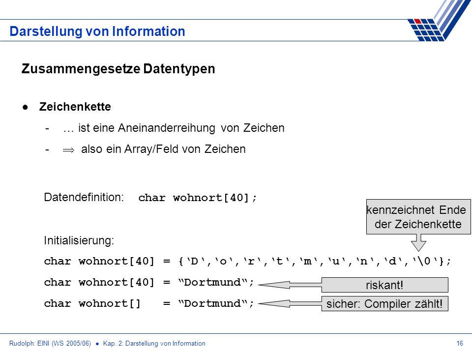 Rudolph: EINI (WS 2005/06) Kap. 2: Darstellung von Information16 Darstellung von Information Zusammengesetze Datentypen Zeichenkette -… ist eine Anein