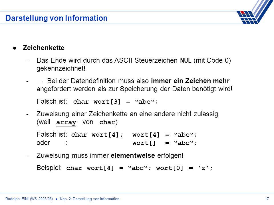 Rudolph: EINI (WS 2005/06) Kap. 2: Darstellung von Information17 Darstellung von Information Zeichenkette -Das Ende wird durch das ASCII Steuerzeichen