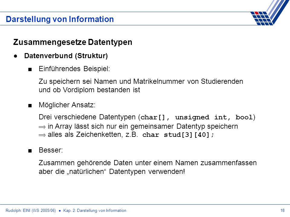 Rudolph: EINI (WS 2005/06) Kap. 2: Darstellung von Information18 Darstellung von Information Zusammengesetze Datentypen Datenverbund (Struktur) Einfüh