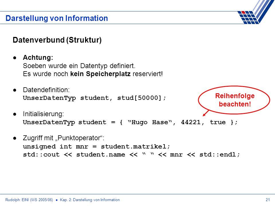 Rudolph: EINI (WS 2005/06) Kap. 2: Darstellung von Information21 Darstellung von Information Datenverbund (Struktur) Achtung: Soeben wurde ein Datenty