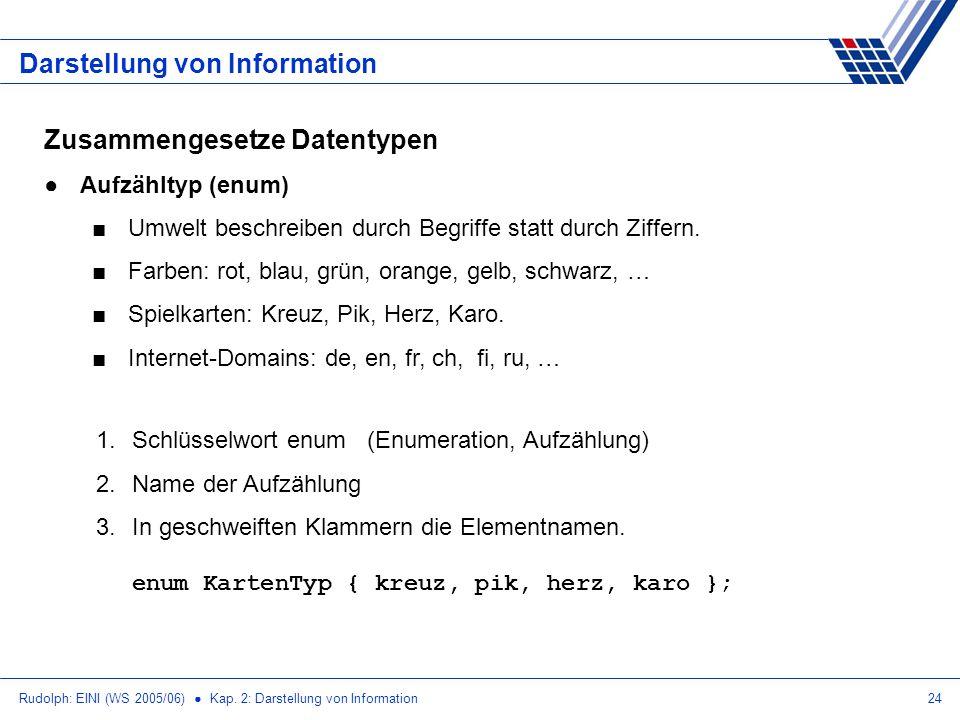 Rudolph: EINI (WS 2005/06) Kap. 2: Darstellung von Information24 Darstellung von Information Zusammengesetze Datentypen Aufzähltyp (enum) Umwelt besch