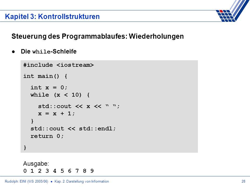 Rudolph: EINI (WS 2005/06) Kap. 2: Darstellung von Information28 Kapitel 3: Kontrollstrukturen Steuerung des Programmablaufes: Wiederholungen Die whil