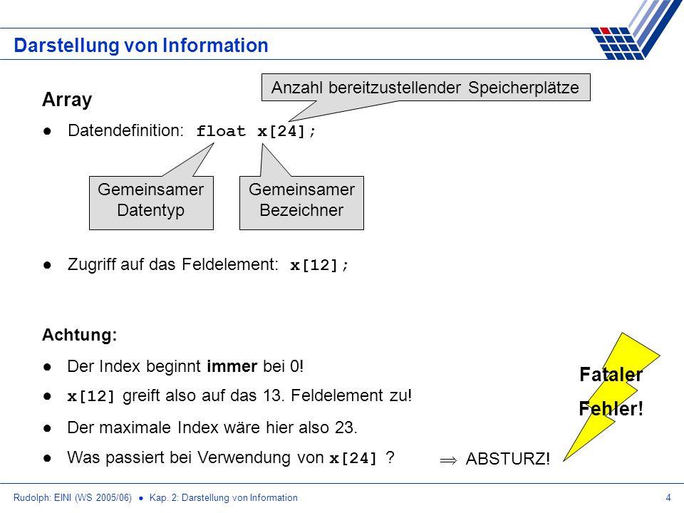 Rudolph: EINI (WS 2005/06) Kap. 2: Darstellung von Information4 Darstellung von Information Array Datendefinition: float x[24]; Gemeinsamer Datentyp G