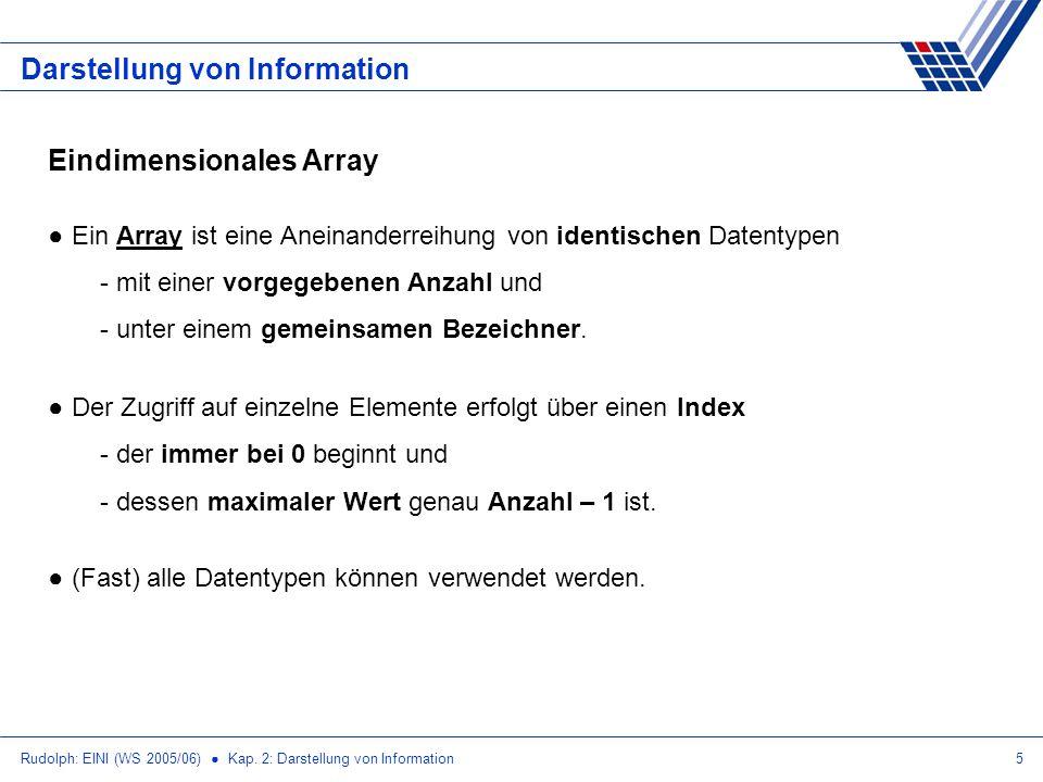 Rudolph: EINI (WS 2005/06) Kap. 2: Darstellung von Information5 Darstellung von Information Eindimensionales Array Ein Array ist eine Aneinanderreihun