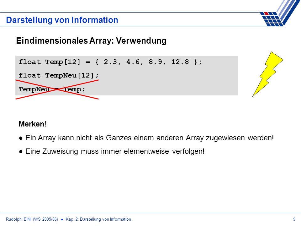 Rudolph: EINI (WS 2005/06) Kap. 2: Darstellung von Information9 Darstellung von Information Eindimensionales Array: Verwendung float Temp[12] = { 2.3,