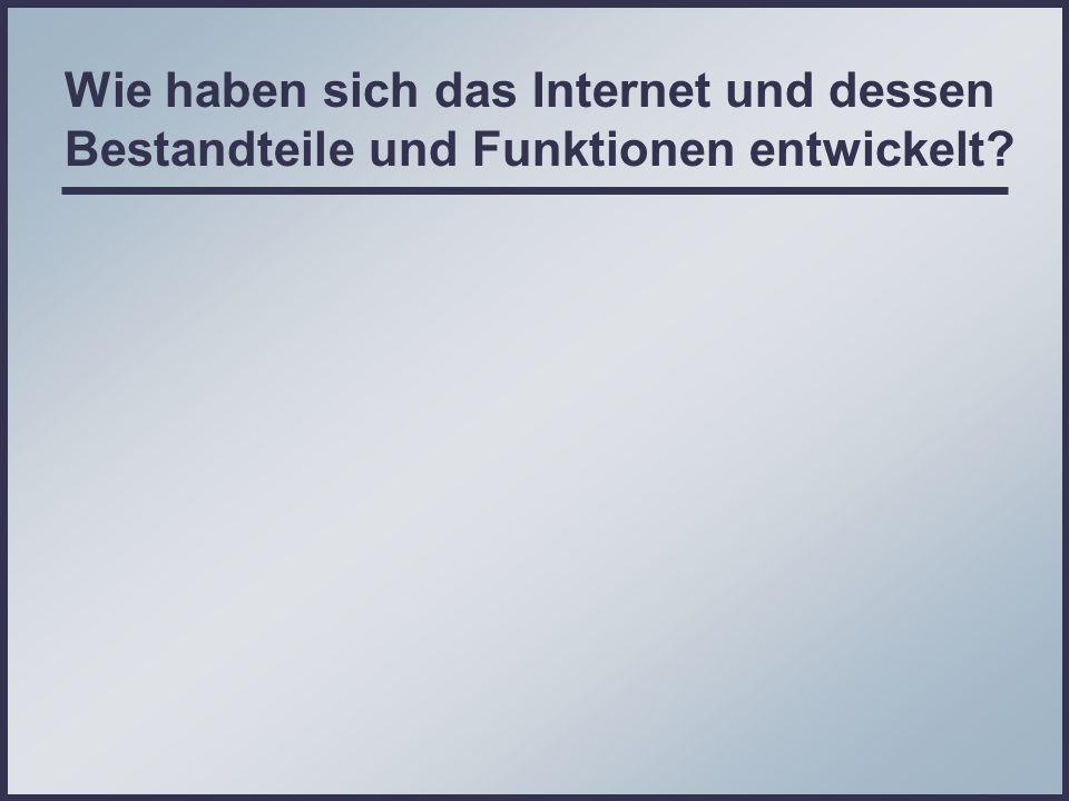 Wie haben sich das Internet und dessen Bestandteile und Funktionen entwickelt?