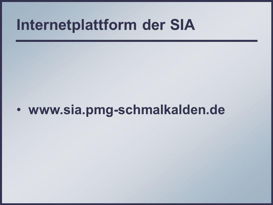 Internetplattform der SIA www.sia.pmg-schmalkalden.de