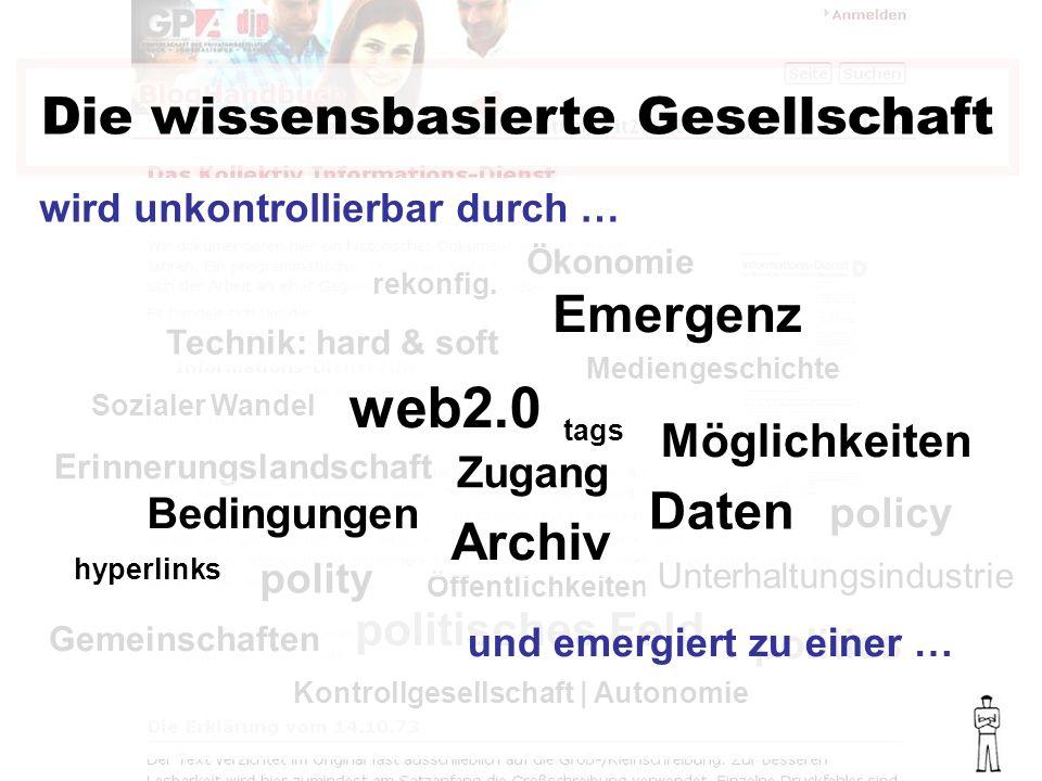 Die wissensbasierte Gesellschaft Sozialer Wandel Mediengeschichte Technik: hard & soft Ökonomie rekonfig.