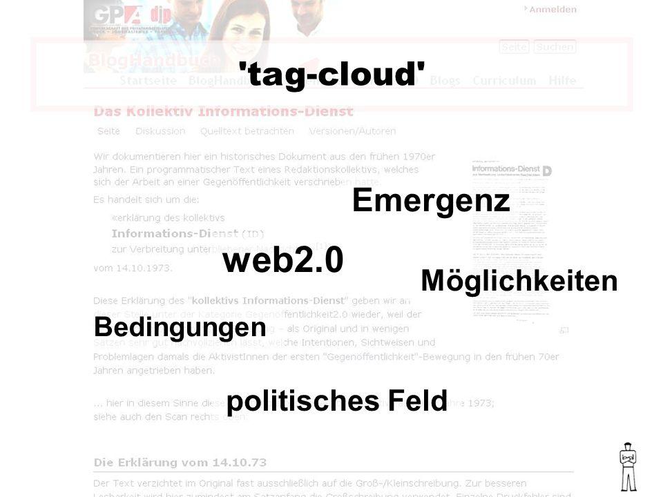 tag-cloud web2.0 Möglichkeiten Emergenz Bedingungen politisches Feld