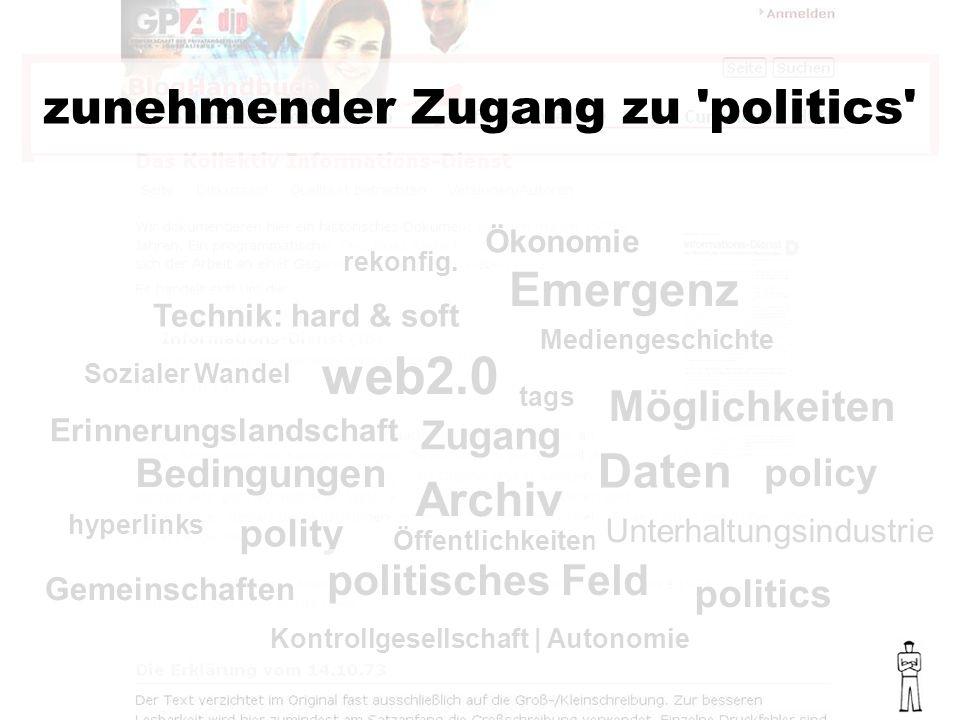 politics policy polity politisches Feld Bedingungen web2.0 Emergenz zunehmender Zugang zu politics Sozialer Wandel Mediengeschichte Technik: hard & soft Ökonomie rekonfig.