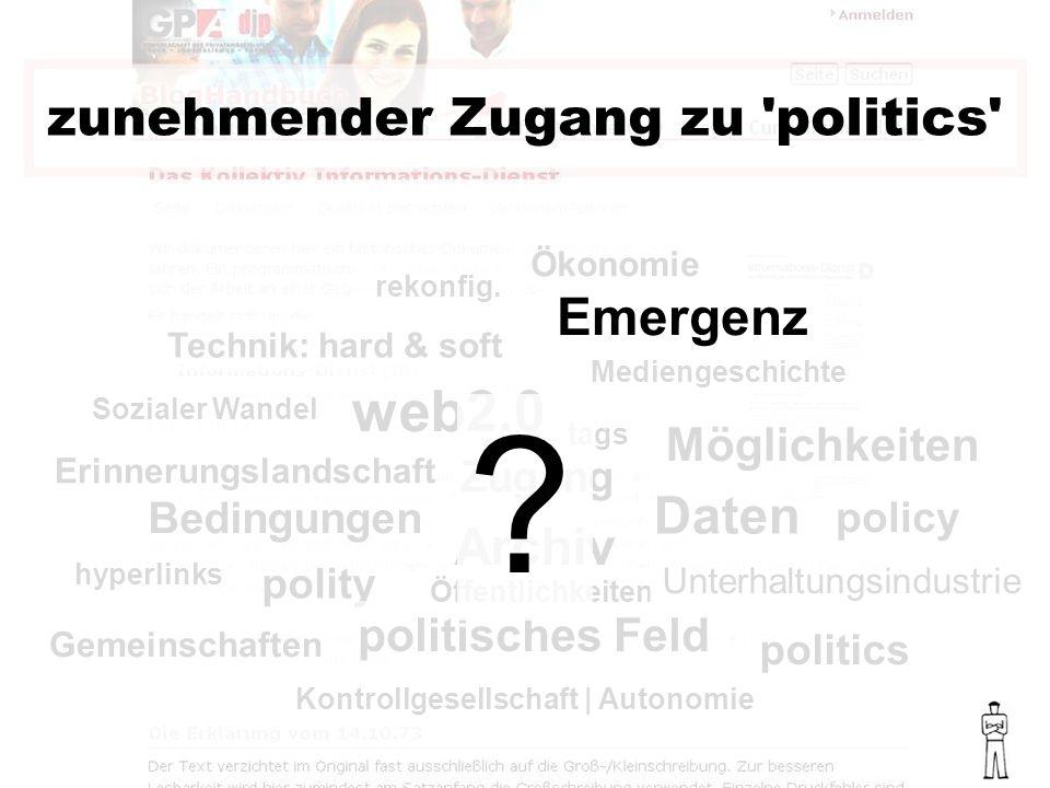 politics policy polity politisches Feld Bedingungen web2.0 zunehmender Zugang zu politics Sozialer Wandel Mediengeschichte Technik: hard & soft Ökonomie rekonfig.