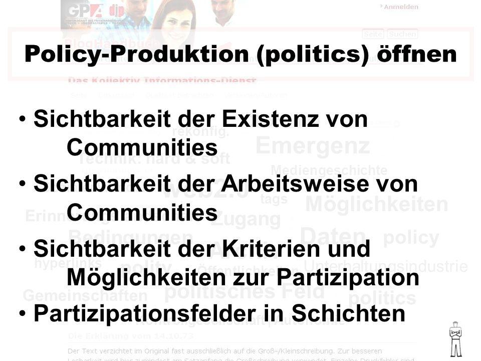 politisches Feld web2.0 politics policy polity Bedingungen Emergenz Policy-Produktion (politics) öffnen Sozialer Wandel Mediengeschichte Technik: hard & soft Ökonomie rekonfig.