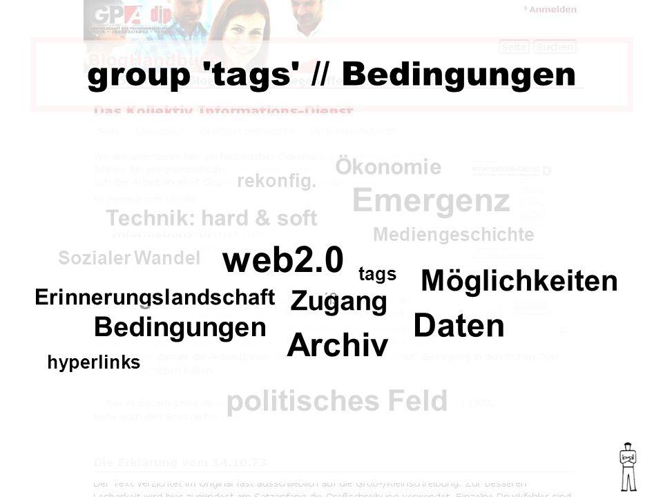 group tags // Bedingungen Emergenz politisches Feld Sozialer Wandel Mediengeschichte Technik: hard & soft Ökonomie rekonfig.