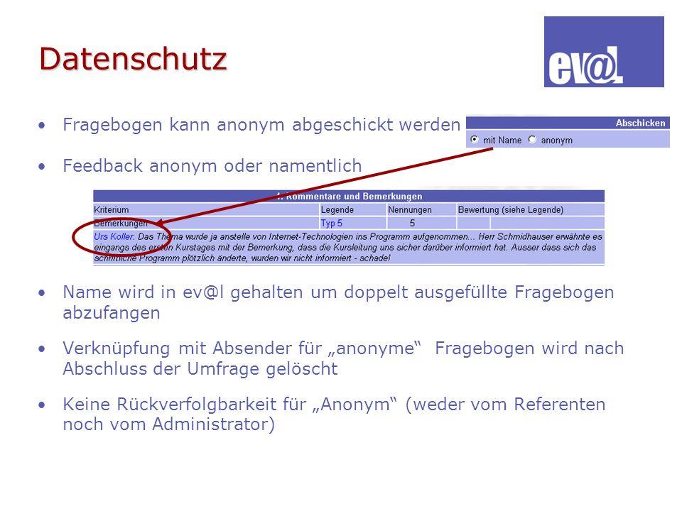 Datenschutz Fragebogen kann anonym abgeschickt werden Feedback anonym oder namentlich Name wird in ev@l gehalten um doppelt ausgefüllte Fragebogen abz