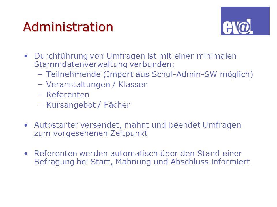 Administration Durchführung von Umfragen ist mit einer minimalen Stammdatenverwaltung verbunden: –Teilnehmende (Import aus Schul-Admin-SW möglich) –Ve