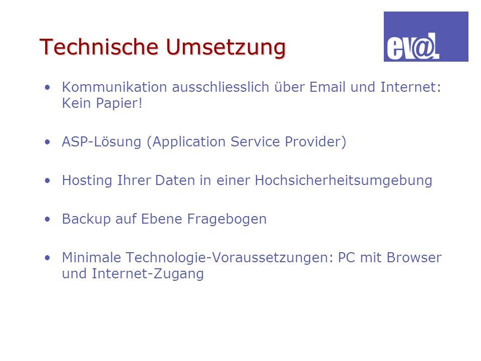 Technische Umsetzung Kommunikation ausschliesslich über Email und Internet: Kein Papier! ASP-Lösung (Application Service Provider) Hosting Ihrer Daten