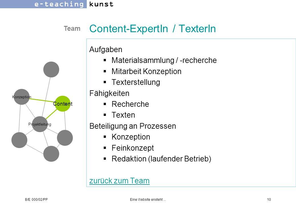 B/E 000/02/PPEine Website ensteht...10 Content-ExpertIn / TexterIn Aufgaben Materialsammlung / -recherche Mitarbeit Konzeption Texterstellung Fähigkei