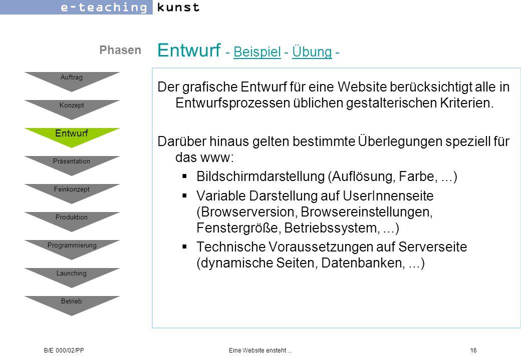 B/E 000/02/PPEine Website ensteht...16 Entwurf - Beispiel - Übung -BeispielÜbung Der grafische Entwurf für eine Website berücksichtigt alle in Entwurf