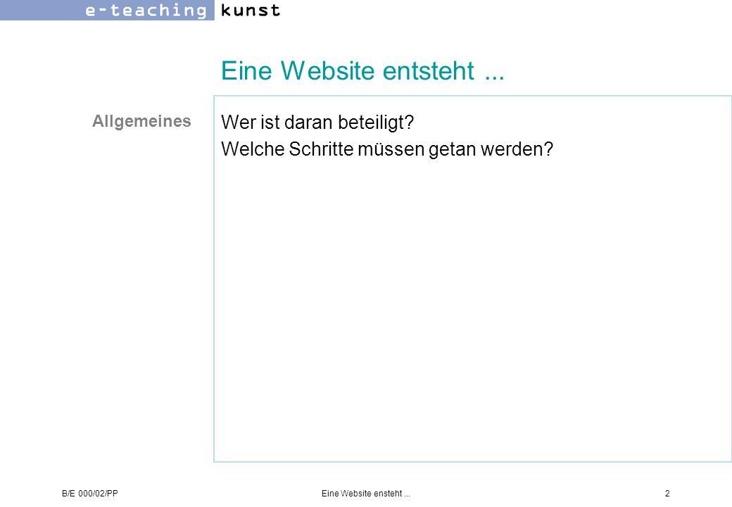 B/E 000/02/PPEine Website ensteht...2 Eine Website entsteht... Wer ist daran beteiligt? Welche Schritte müssen getan werden? Allgemeines