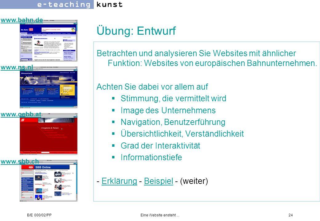 B/E 000/02/PPEine Website ensteht...24 Übung: Entwurf Betrachten und analysieren Sie Websites mit ähnlicher Funktion: Websites von europäischen Bahnun
