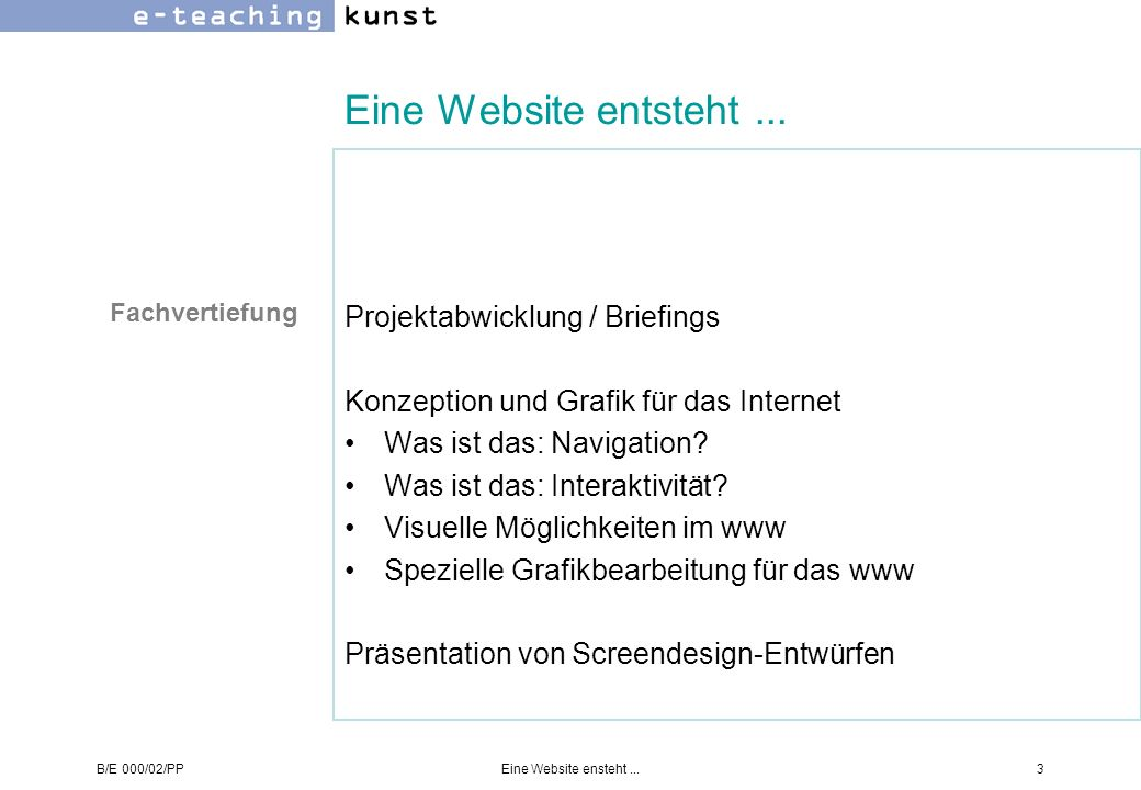 B/E 000/02/PPEine Website ensteht...14 Konzeption - Beispiel - Übung -BeispielÜbung was Was ist das Thema auf den Punkt gebracht.