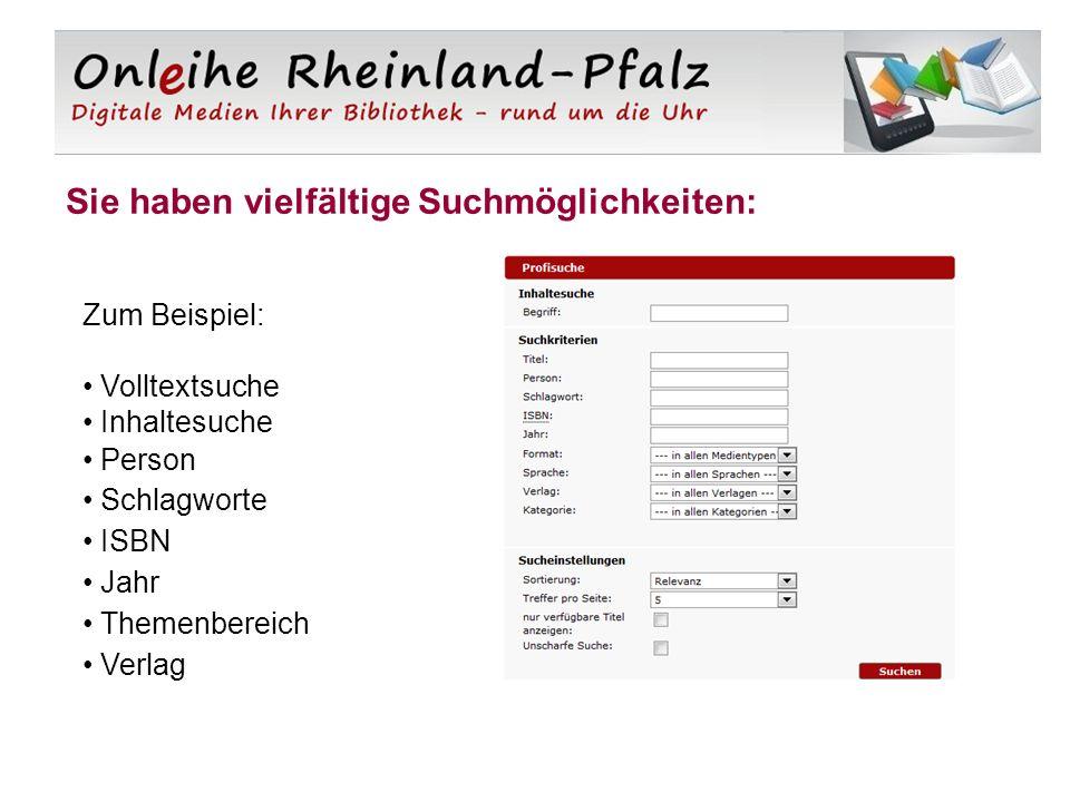 Sie haben vielfältige Suchmöglichkeiten: Zum Beispiel: Volltextsuche Inhaltesuche Person Schlagworte ISBN Jahr Themenbereich Verlag