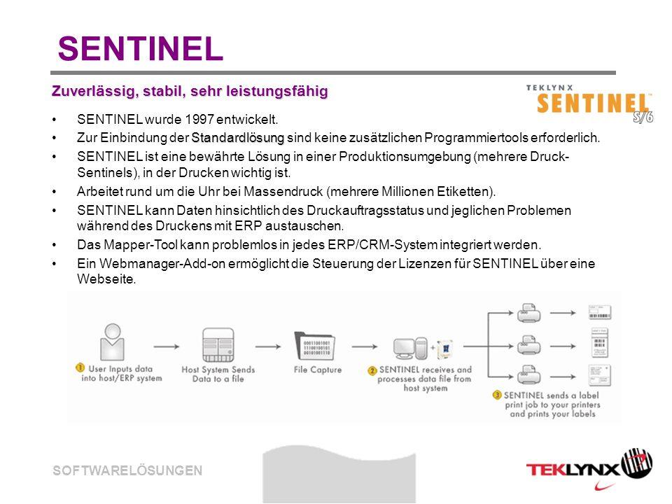 SOFTWARELÖSUNGEN SENTINEL Zuverlässig, stabil, sehr leistungsfähig SENTINEL wurde 1997 entwickelt. StandardlösungZur Einbindung der Standardlösung sin