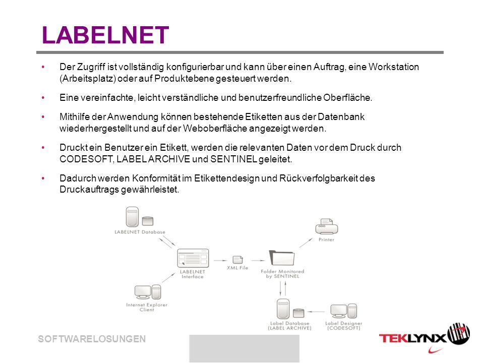 SOFTWARELÖSUNGEN LABELNET Der Zugriff ist vollständig konfigurierbar und kann über einen Auftrag, eine Workstation (Arbeitsplatz) oder auf Produkteben