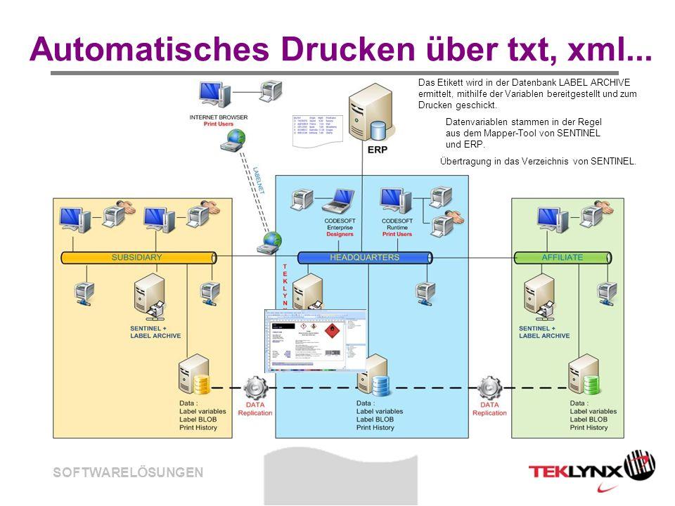 SOFTWARELÖSUNGEN Automatisches Drucken über txt, xml... Datenvariablen stammen in der Regel aus dem Mapper-Tool von SENTINEL und ERP. Übertragung in d