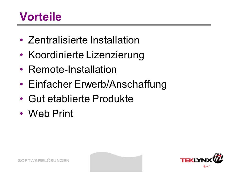 SOFTWARELÖSUNGEN Vorteile Zentralisierte Installation Koordinierte Lizenzierung Remote-Installation Einfacher Erwerb/Anschaffung Gut etablierte Produk