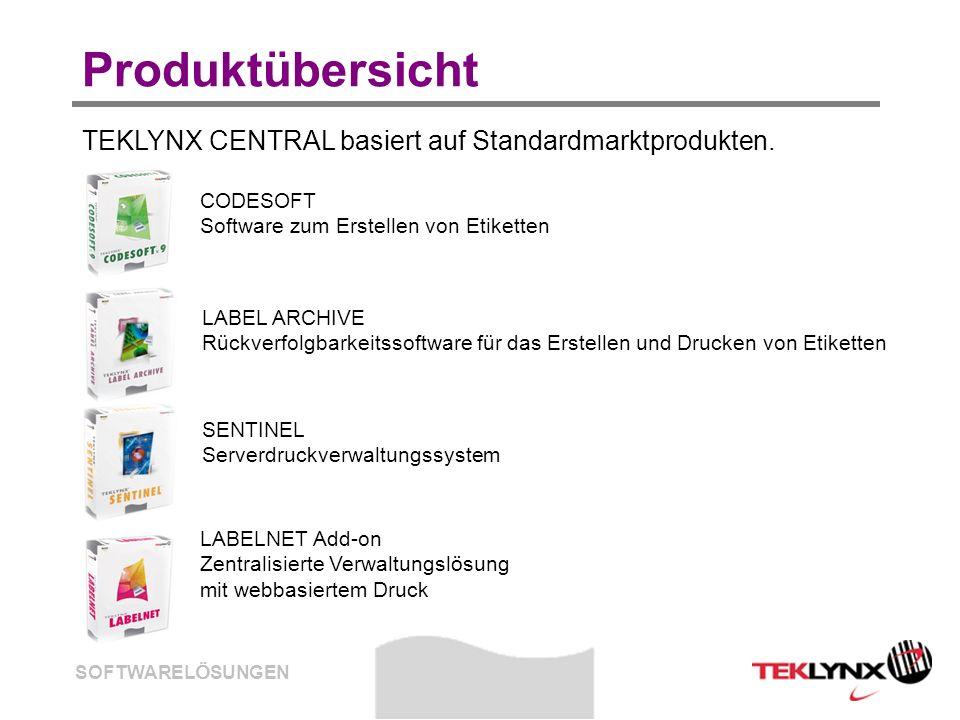 SOFTWARELÖSUNGEN Produktübersicht TEKLYNX CENTRAL basiert auf Standardmarktprodukten. CODESOFT Software zum Erstellen von Etiketten SENTINEL Serverdru