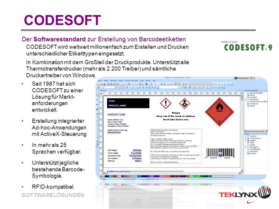 SOFTWARELÖSUNGEN CODESOFT Seit 1987 hat sich CODESOFT zu einer Lösung für Markt- anforderungen entwickelt. Erstellung integrierter Ad-hoc-Anwendungen