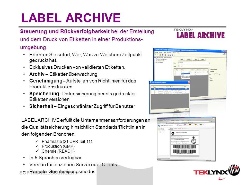 SOFTWARELÖSUNGEN LABEL ARCHIVE Steuerung und Rückverfolgbarkeit bei der Erstellung Steuerung und Rückverfolgbarkeit bei der Erstellung und dem Druck von Etiketten in einer Produktions- und dem Druck von Etiketten in einer Produktions- umgebung.