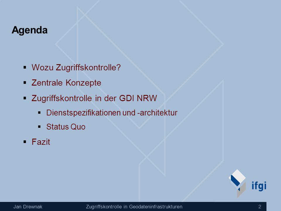 Jan DrewnakZugriffskontrolle in Geodateninfrastrukturen 2 Agenda Wozu Zugriffskontrolle? Zentrale Konzepte Zugriffskontrolle in der GDI NRW Dienstspez