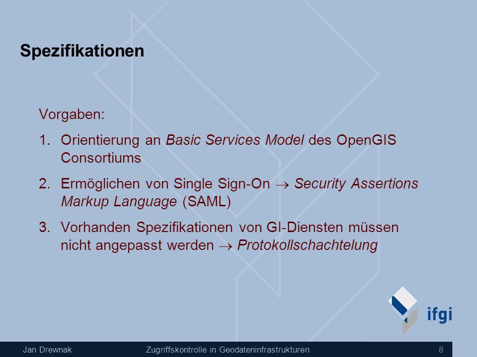 Jan DrewnakZugriffskontrolle in Geodateninfrastrukturen 8 Spezifikationen Vorgaben: 1.Orientierung an Basic Services Model des OpenGIS Consortiums 2.Ermöglichen von Single Sign-On Security Assertions Markup Language (SAML) 3.Vorhanden Spezifikationen von GI-Diensten müssen nicht angepasst werden Protokollschachtelung