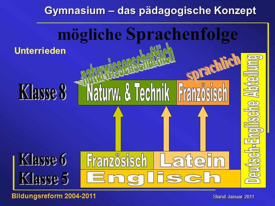 Gymnasium – das pädagogische Konzept Stand: Januar 2011 Bildungsreform 2004-2011 mögliche Sprachenfolge Unterrieden