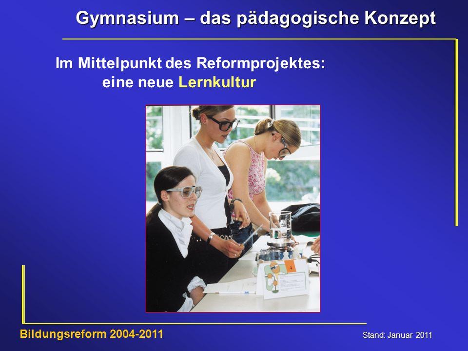 Gymnasium – das pädagogische Konzept Stand: Januar 2011 Bildungsreform 2004-2011 Im Mittelpunkt des Reformprojektes: eine neue Lernkultur