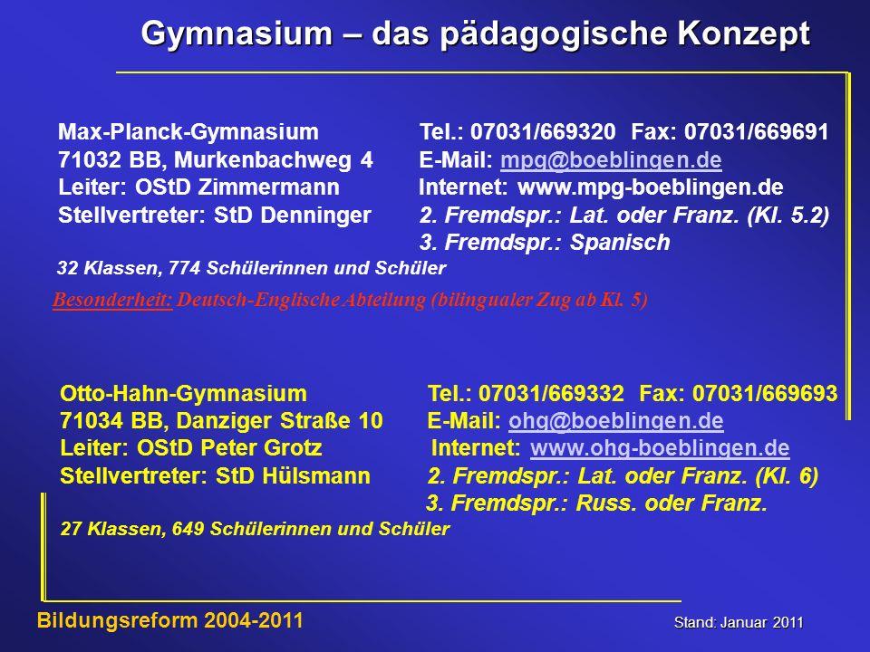 Gymnasium – das pädagogische Konzept Stand: Januar 2011 Bildungsreform 2004-2011 Max-Planck-Gymnasium Tel.: 07031/669320 Fax: 07031/669691 71032 BB, M
