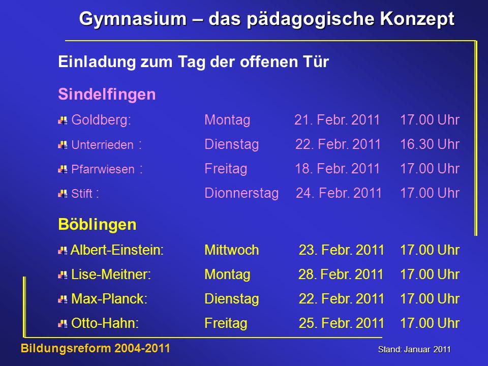 Gymnasium – das pädagogische Konzept Stand: Januar 2011 Bildungsreform 2004-2011 Einladung zum Tag der offenen Tür Böblingen Albert-Einstein:Mittwoch