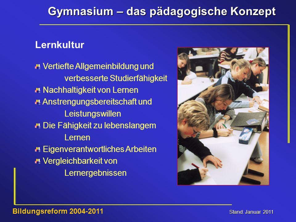 Gymnasium – das pädagogische Konzept Stand: Januar 2011 Bildungsreform 2004-2011 Lernkultur Vertiefte Allgemeinbildung und verbesserte Studierfähigkei