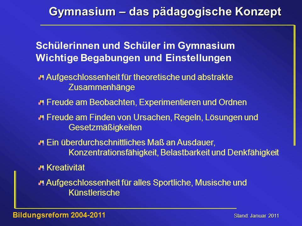Gymnasium – das pädagogische Konzept Stand: Januar 2011 Bildungsreform 2004-2011 Schülerinnen und Schüler im Gymnasium Wichtige Begabungen und Einstel